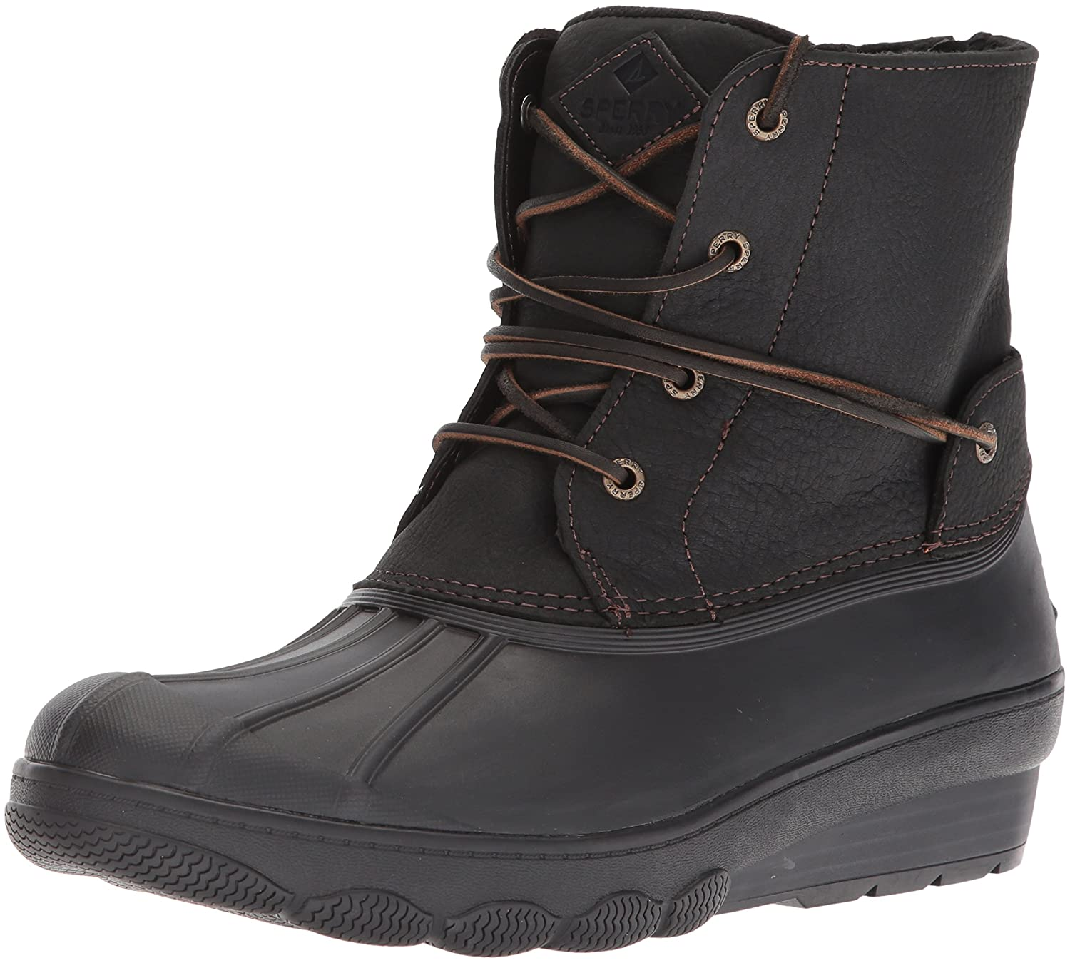 Sperry Top-Sider Women's Saltwater Wedge Tide Rain Boot B07B8GS4GV 6 B(M) US|Black
