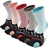 Chaussettes 5 doigts Femme avec orteils multicolores drôle chat de dessin animé animaux, 5 paires