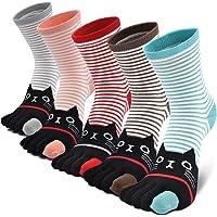 Teenloveme Mujer cinco calcetines de los dedos, Calcetines de Animales Lindos para Mujer Calcetines de Divertidos…