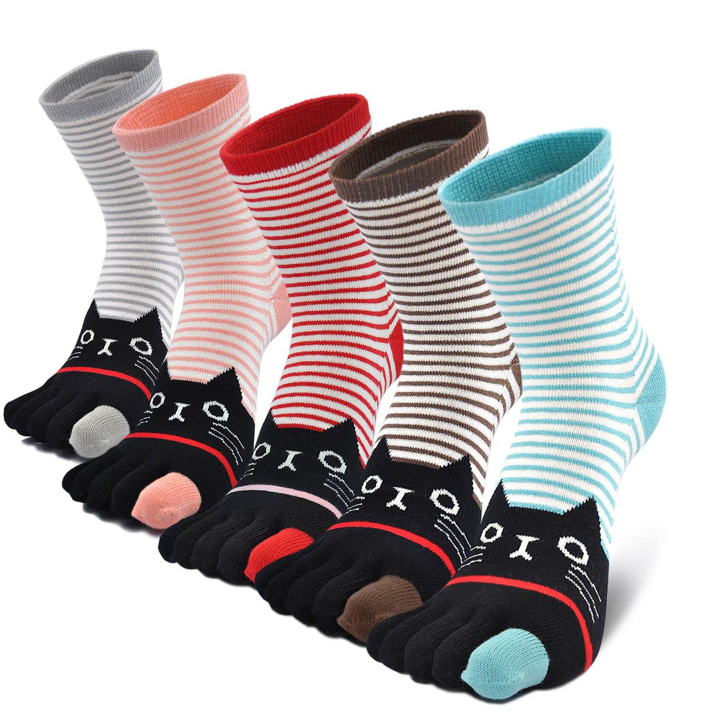 5 paires Chaussettes 5 doigts Femme avec orteils multicolores dr/ôle chat de dessin anim/é animaux