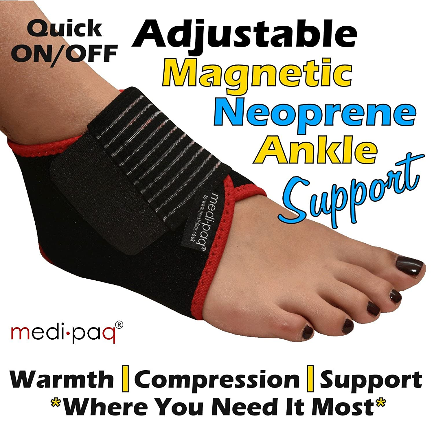 20a87db9f5 Medipaq® Neoprene Magnetic Ankle Support - Warmth & Compression Where Its  Needed Most: Amazon.co.uk: Health & Personal Care