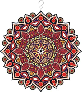 SANKUU Mandala Wind Spinner-12Inch 3D Stainless Steel Wind Spinners Outdoor Hanging Garden Decoration, Multi Color Mandala Flower Wind Spinners (red)