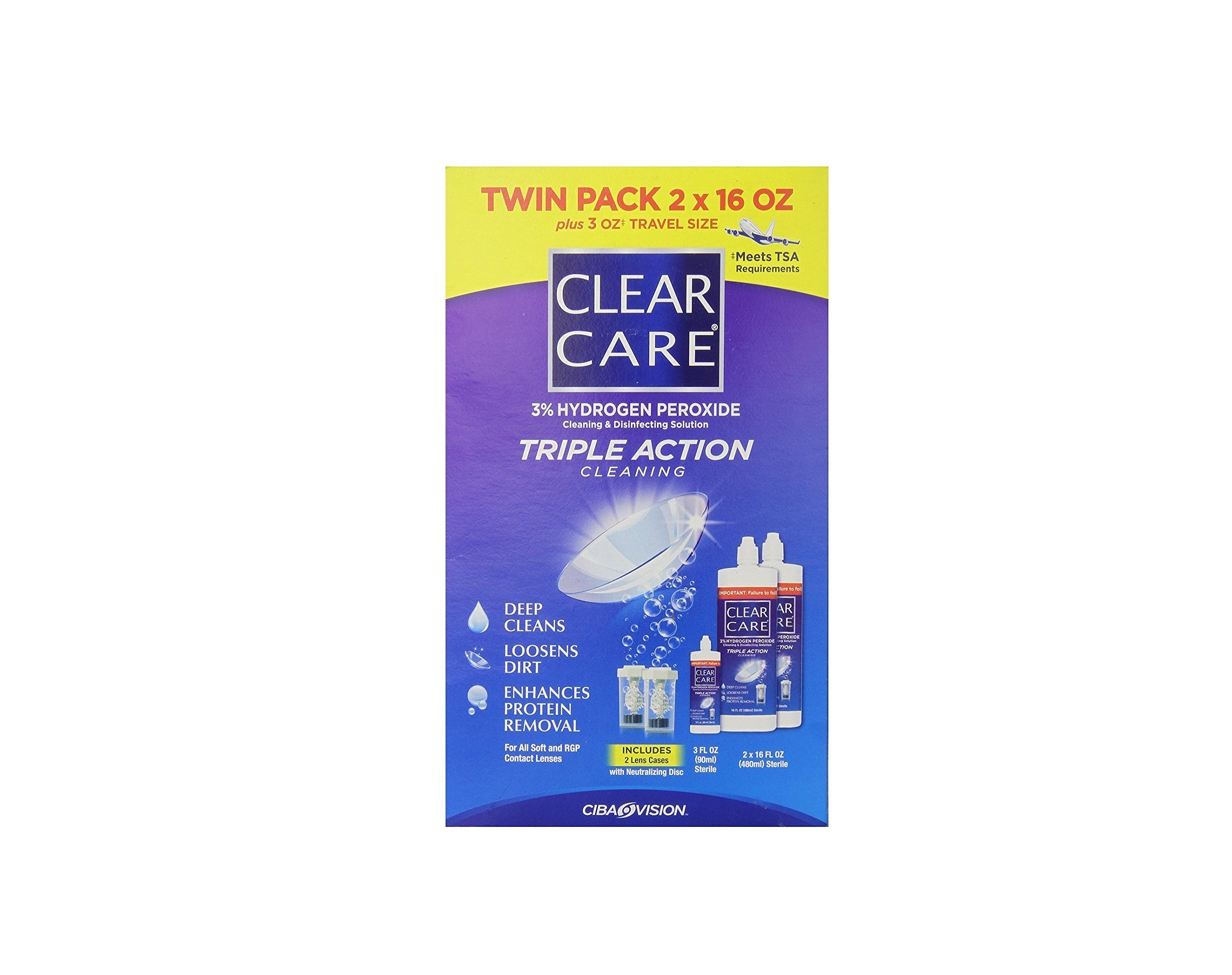 Clear Care 3% Hydrogen peroxide Triple Action Cleaning Triple Action 2x16oz + 3oz Travel Size (Pack of 2)