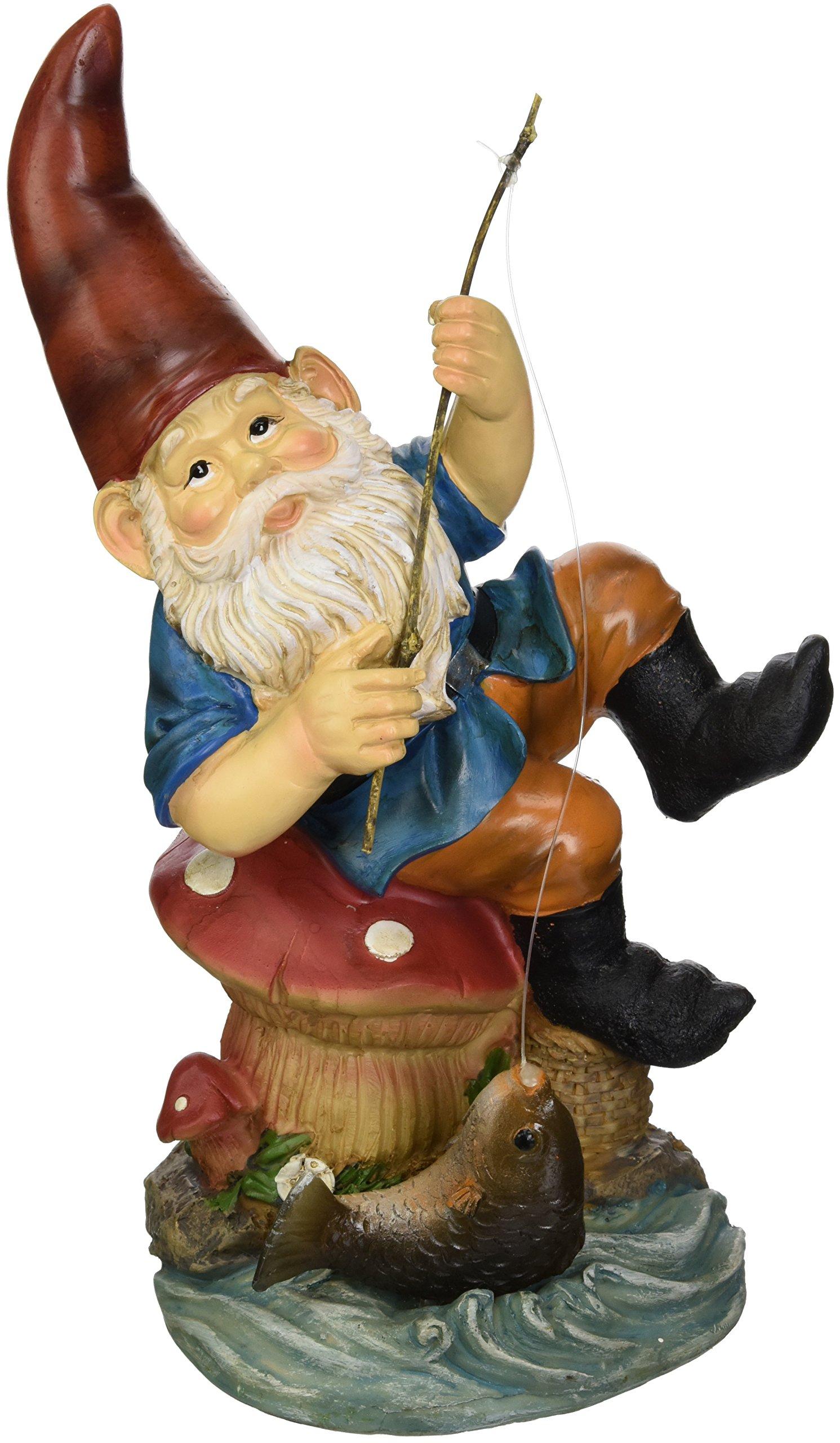 Home Locomotion Fishing Gnome Solar Light Statue