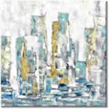 Cityscape Wall Art Abstract Artwork: Modern City Picture Hand-Painted Canvas Painting for Office (24'' x 24'' x 1 Panel)