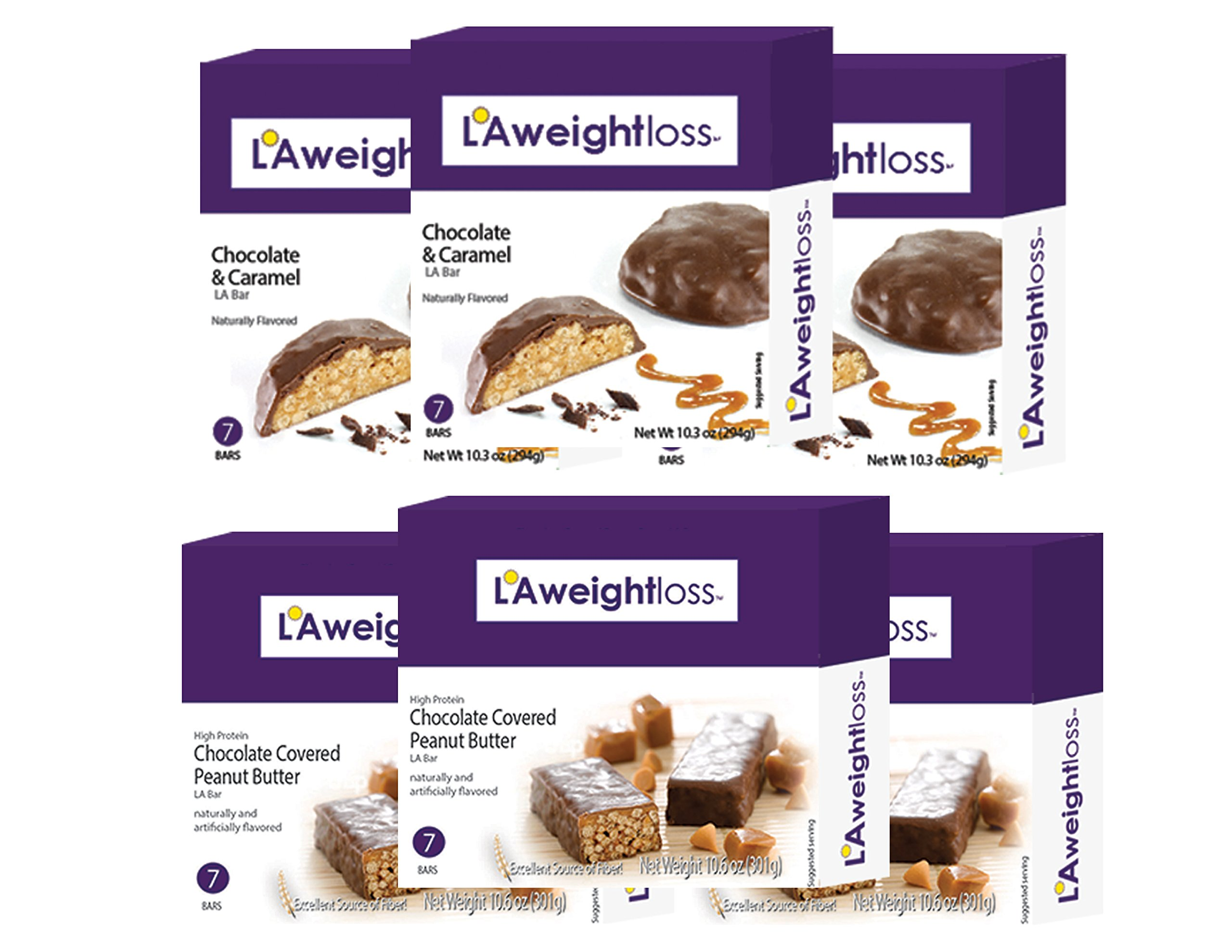 LA Bars - Chocolate Peanut Butter & Chocolate Caramel 8 Pack by LA Weight Loss