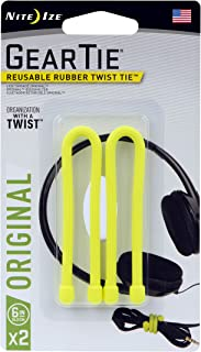 product image for Nite Ize Original Gear Tie, Reusable Rubber Twist Tie, 6-Inch, Yellow, 2 Pack, Made in the USA
