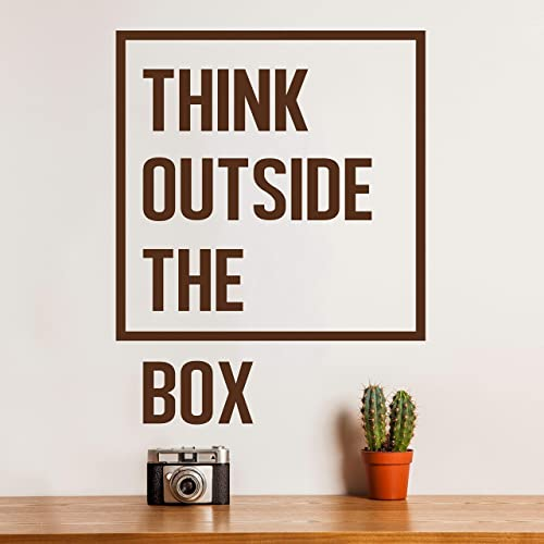 outside home office shed think outside the box quote decal for home office bedroom classroom dorm wall art removable amazoncom