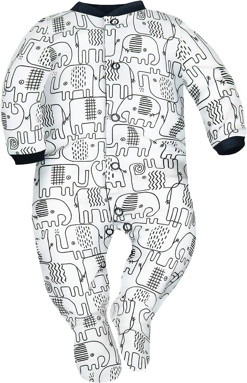 SIBINULO Jungen M/ädchen Schlafstrampler mit Fu/ß 3er pack Wolken 0-3 monate Kosmos und schwarze Elefanten 56