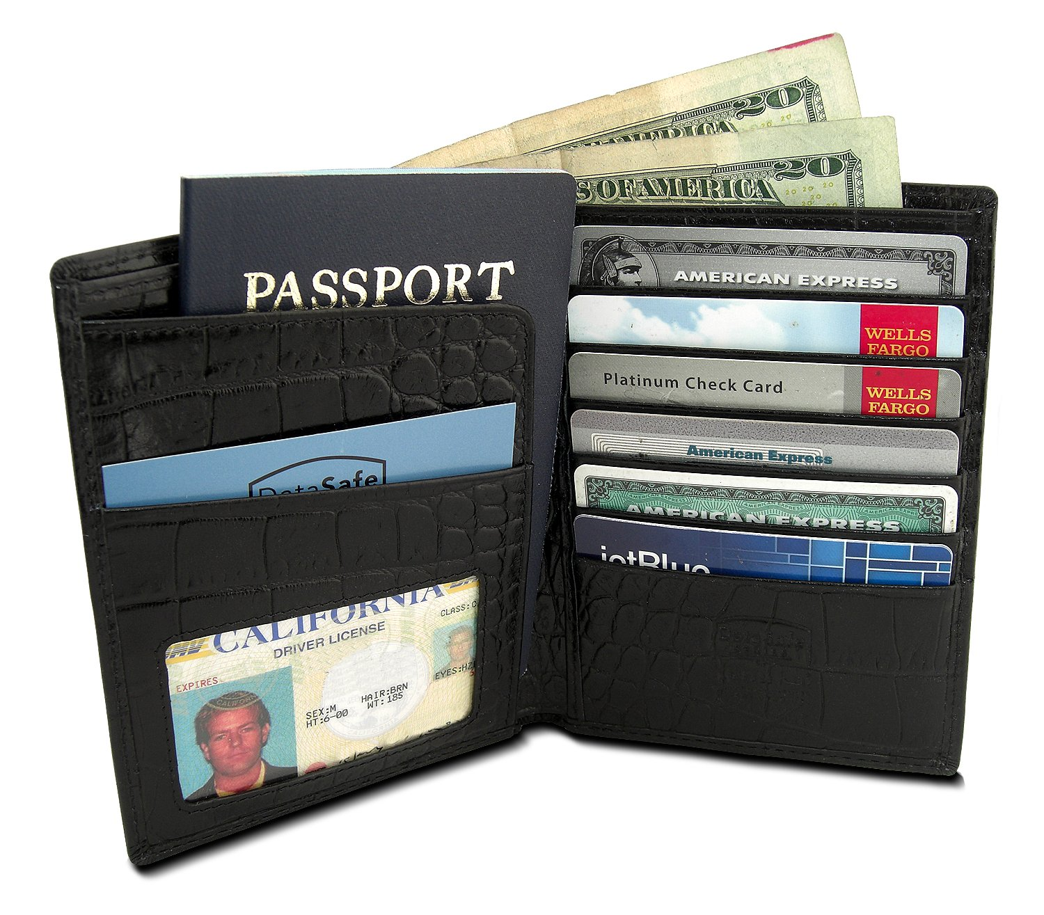 DataSafe Deluxe Italian Leather Passport Wallet with RFID Sheilding Security (Black) by Kena Kai (Image #2)