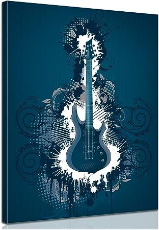 Bilderdepot24 Bastidor Imagen - Cuadros en Lienzo Guitarra eléctrica - ilustración Azul 50x60cm - Made in Germany!: Amazon.es: Hogar