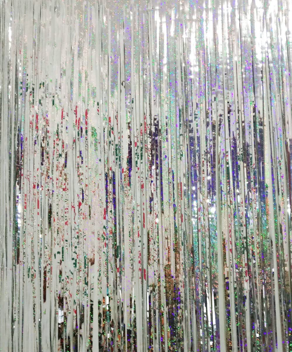 GOER 3.2 ft x 9.8 ft Metallic Tinsel Foil Fringe Curtains for Party Photo Backdrop Wedding Decor (1 Pack, Shiny Silver)