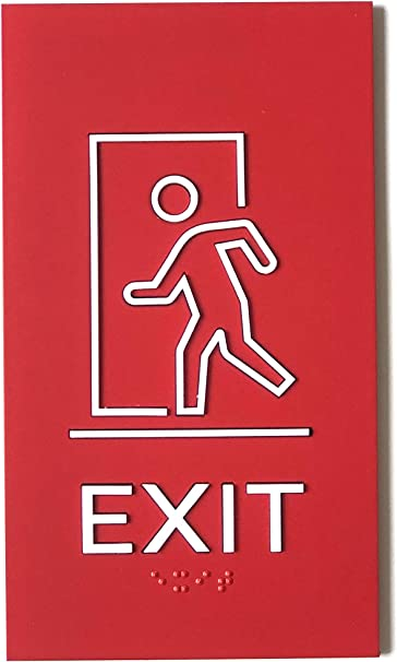 Kubik Letters Exit Sign ADA Compliant Modern Design Sign with Grade 2 Braille for Emergency Door with 3M Double Sided Tape