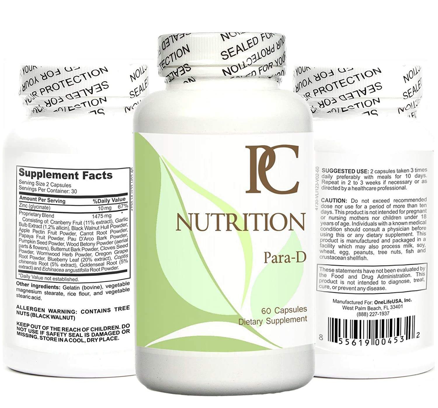 para-D: Easy 10 Day Program  with Wormwood, Black Walnut, Cloves + More in  Non-GMO Formula