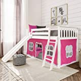 Max & Lily Twin Low Bunk with Slide, White, Pink Curtain