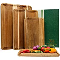Large Wood Cutting Boards Set of 4 for Kitchen Cheese Charcuterie Board (Gift Box Included) Acacia Butcher Block with…
