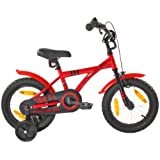 """PROMETHEUS Kids bike 14 inch boy bike in colour red & black with stabilisers 