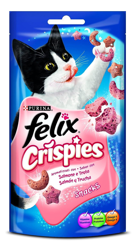 Felix Party Crispies Sabor Salmón y Trucha 45 g - 450 gr: Amazon.es: Productos para mascotas