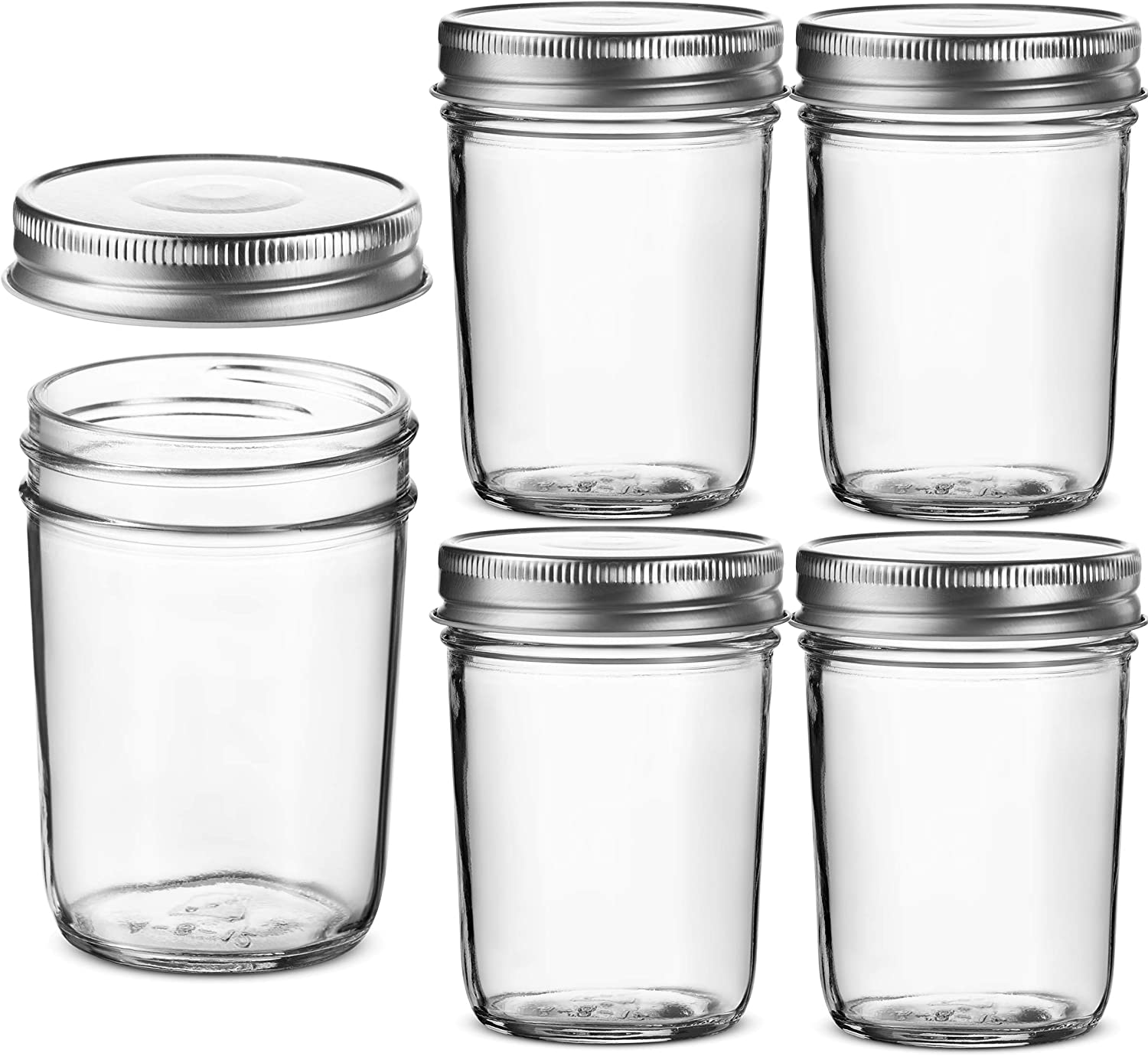 Glass Regular Mouth Mason Jars, 8 Ounce Glass Jars with Silver Metal Airtight Lids for Meal Prep, Food Storage, Canning, Drinking, for Overnight Oats, Jelly, Dry Food, Spices, Salads, Yogurt (5 Pack)
