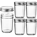 Glass Regular Mouth Mason Jars, 8 Ounce Glass Jars with Silver Metal Airtight Lids for Meal Prep, Food Storage, Canning…