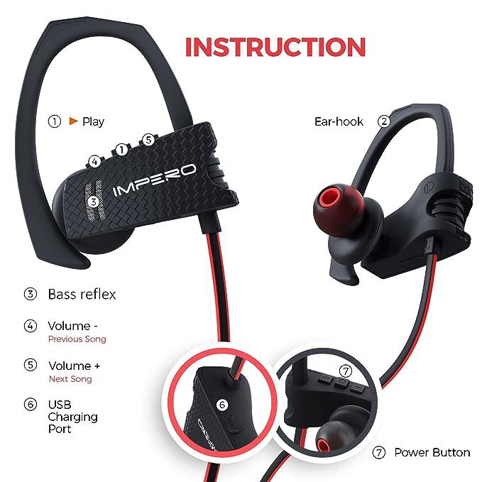 Auriculares inalámbricos Impero deporte Bluetooth auriculares con micrófono, inalámbrico auriculares deporte auriculares mejores auriculares Bluetooth ...