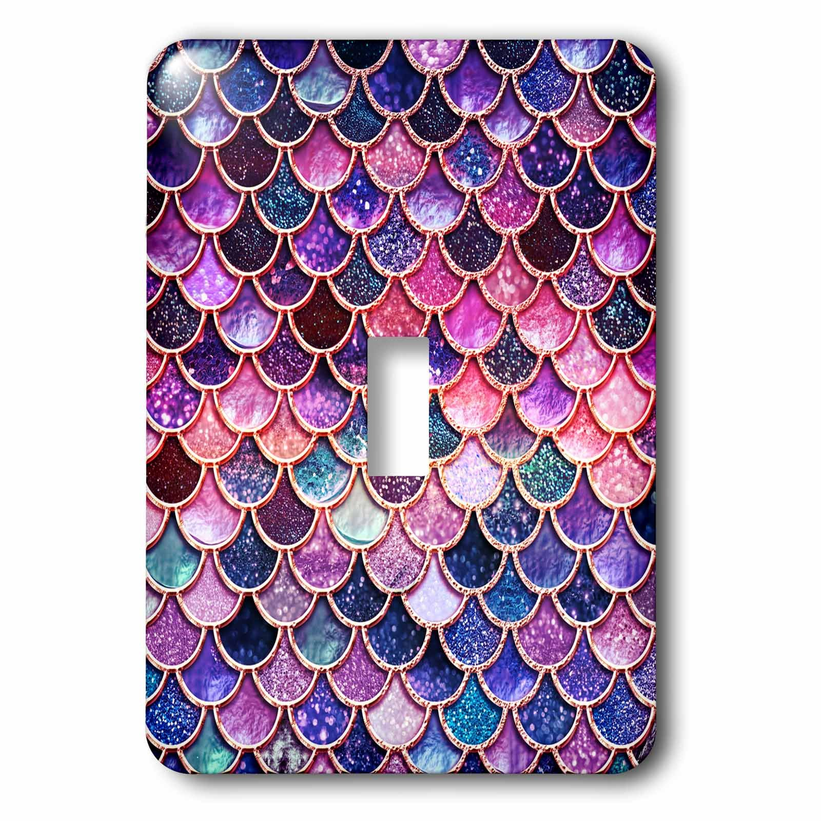 3dRose lsp_272859_1 Multicolor Girly Trend Pink Luxury Elegant Mermaid Scales Glitter Toggle Switch, Mixed