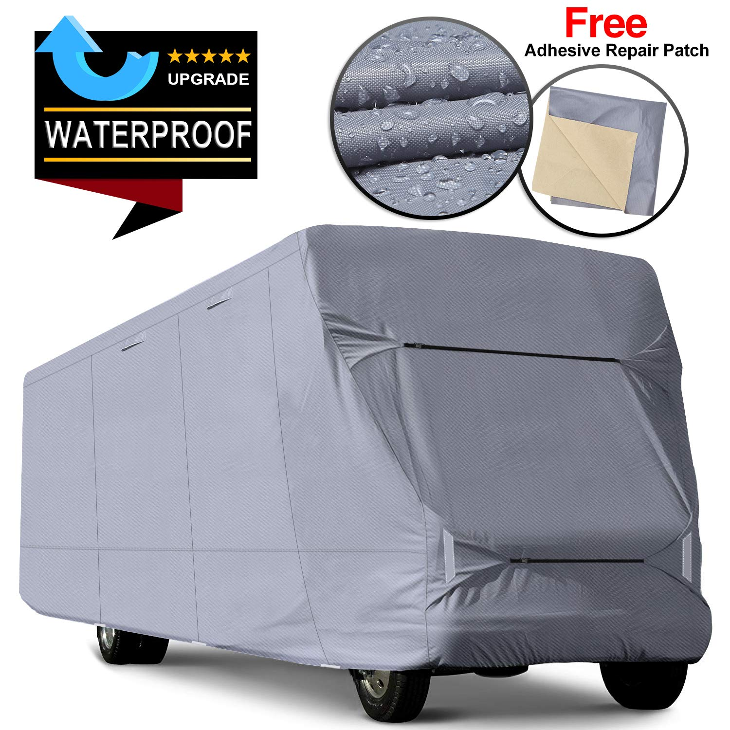 RVMasking Upgraded Waterproof Class C RV Cover, Fits 26'-29' RVs - Easy Installaiton Anti-UV Ripstop Camper Cover with Adhesive Repair Patch by RVMasking
