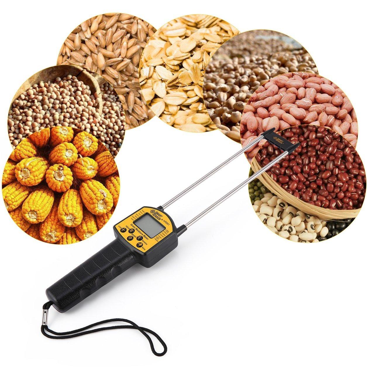 SMART SENSOR AR991 Professionelle Digitale Getreide Feuchtigkeitsmesser für Mais Weizen Reis Bean Peanut Grain Measurement Feuchtigkeitsmessgerät, Yello & Schwarz Dailyinshop