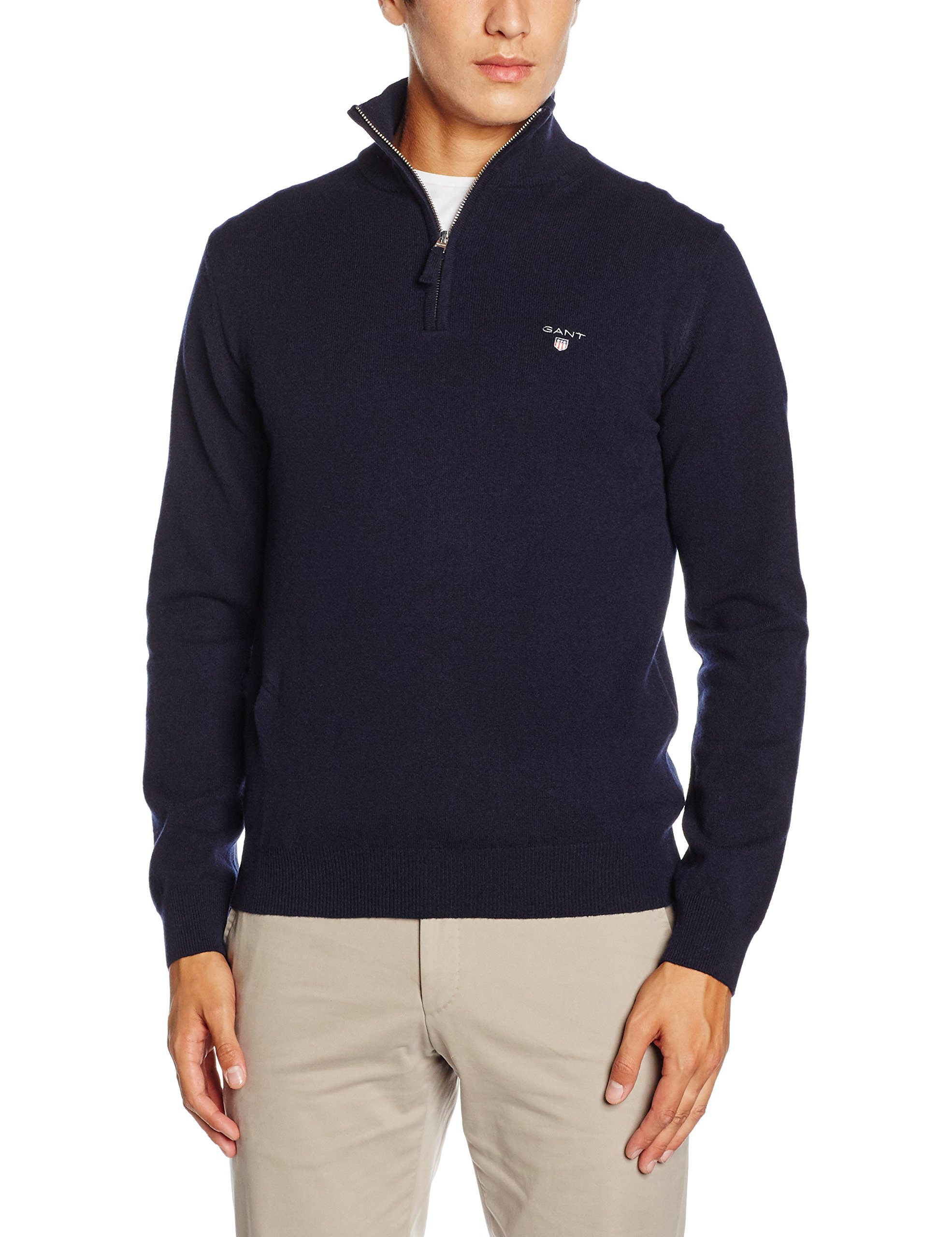 GANT Super Fine Lambswool Mens Zip M Marine