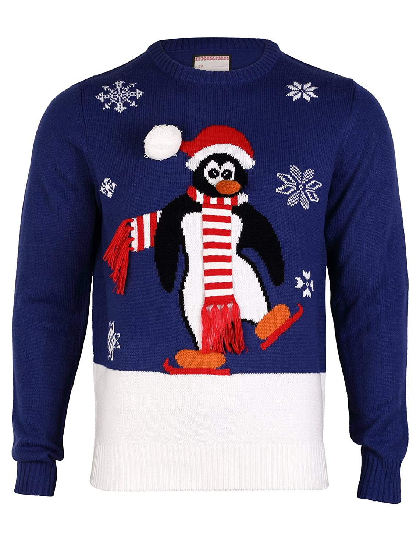Tokyo Laundry Mens Merry Xmas Christmas Penguin Crew Neck Jumper