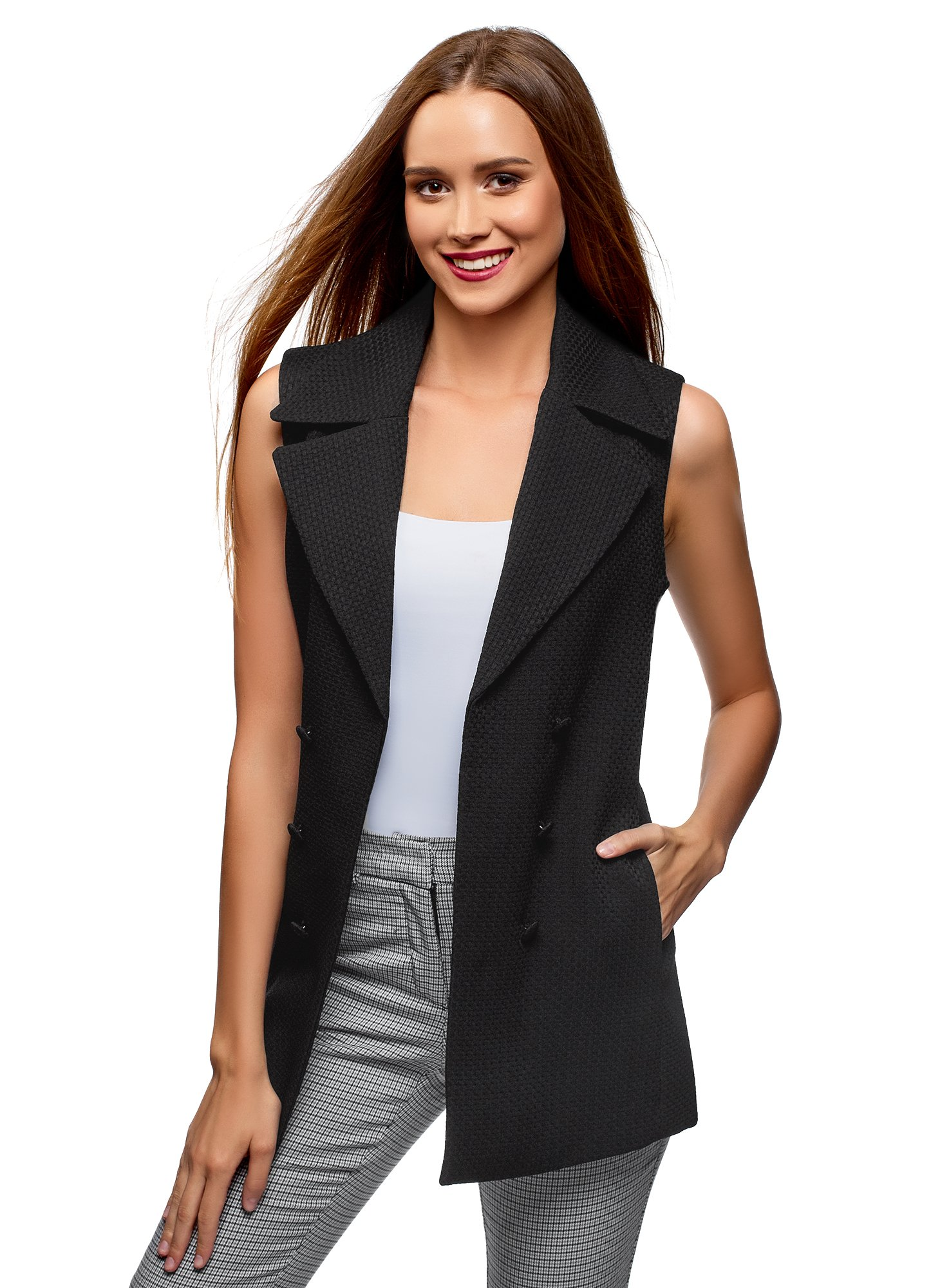 oodji Collection Women's Long Vest with Decorative Buttons, Black, US 10 / EU 44 / XL