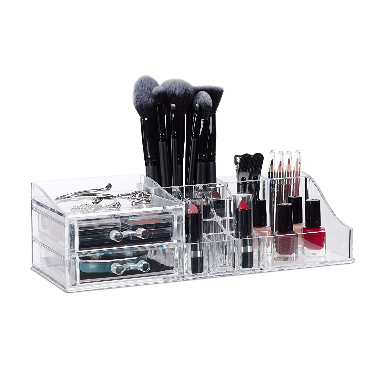 Relaxdays Organiseur à Maquillage 2 Tiroirs Rangement ...