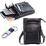 Hwin Men Travel Shoulder Bag Cell Phone Crossbody Purse iPhone 8 7 6 Plus Holster Case Leather Belt Waist Pouch Small Messeng