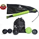 """Flex Life Muscle Roller Stick Massager & Massage Ball Set - 2 Spiky Ball, 1 Lacrosse Ball, 1 Peanut Ball, (1) 18"""" Roller Stick. Great Rollers For Plantar Fasciitis, Mobility, Recovery, Soreness"""