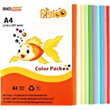 Pigloo Premium A4 Colour Paper for Greeting Cards, Art & Craft - 100 Sheets. 10 Colour, 160 GSM