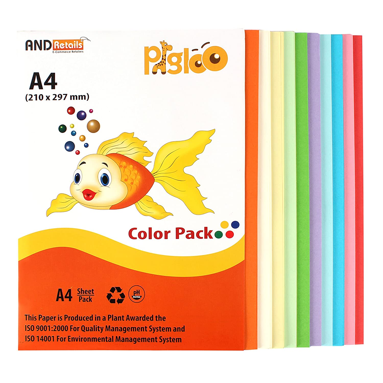 Pigloo A4 Colour Paper For Greeting Cards Art N Craft 100 Sheets