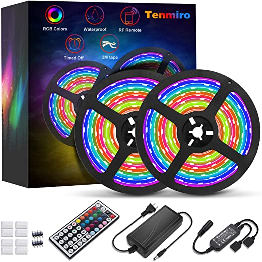 Led Strip Lights Tenmiro 32 8ft Led Strip Lights With 44key Rf Remote Controller Waterproof Color Changing Rgb Smd 5050 300 Leds Rope Lights Dc 12v5a