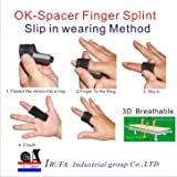 C&A Support, FS-OS-11, 3D Breathable Elastic Fabric Finger Splint,forTrigger Finger Treatment Splint Home Remedy Black, One Size Fit Most, One PCS