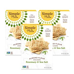 Simple Mills Almond Flour Crackers, Rosemary & Sea Salt, Gluten Free, Flax Seed, Sunflower Seeds, Corn Free, Good for Snacks, Made with whole foods, 3 Count (Packaging May Vary)
