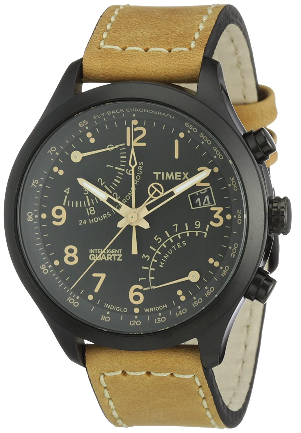 timex men s t2n700 intelligent quartz watch black dial fly timex men s t2n700 intelligent quartz watch black dial fly back chronograph display and beige leather strap timex amazon co uk watches