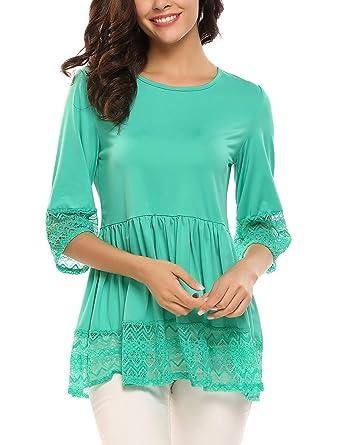 aab4f4469e00b UNibelle Womens Casual 3 4 Sleeve Cute Babydoll Ruffle Flare Lace Tunic Tops  T Shirts Loose