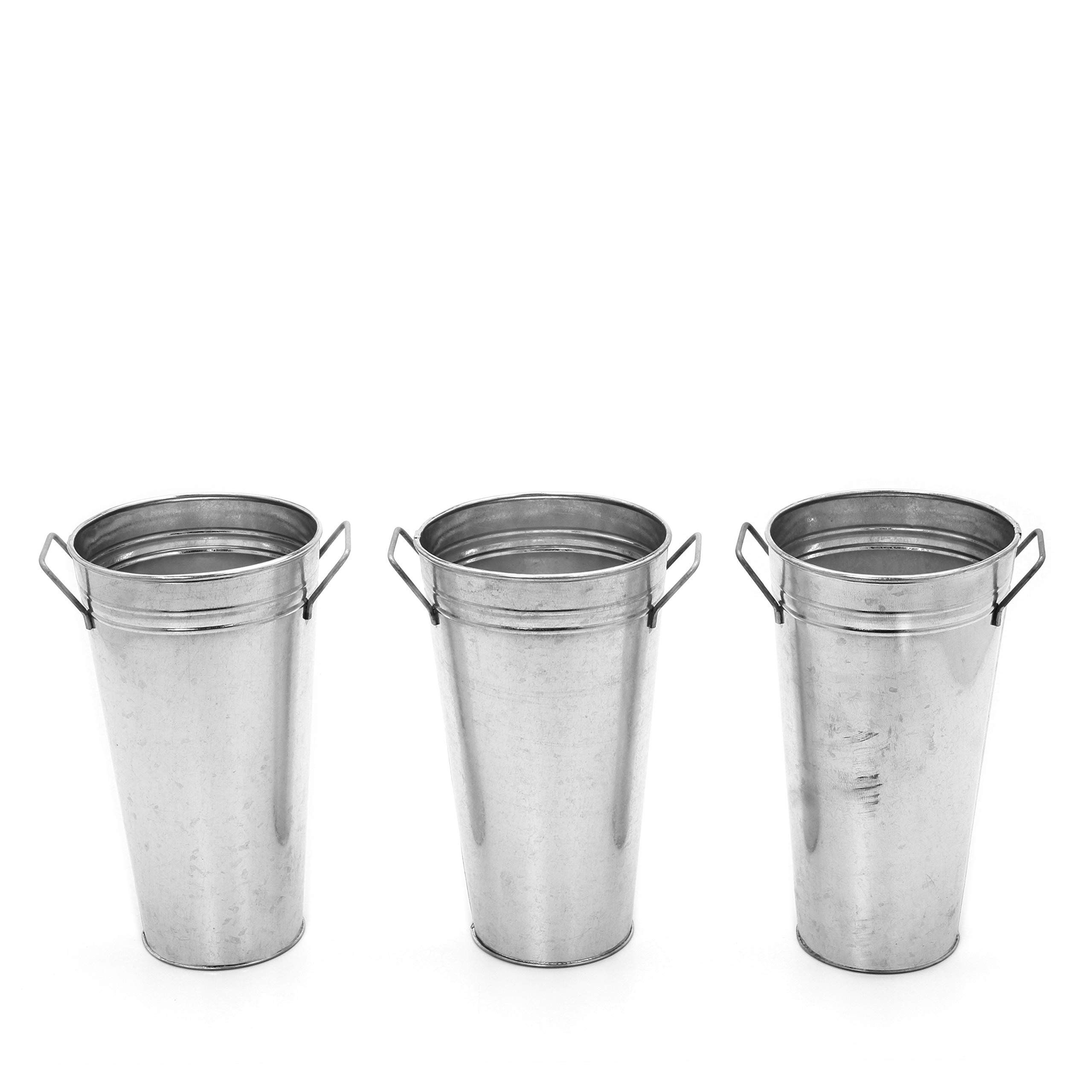 Hosley Set of 3 Galvanized French Bucket/Vase with Handles- 9'' High. Ideal for Dried Floral Arrangements at Home, for Weddings Gift, Spa and Aromatherapy Settings O5