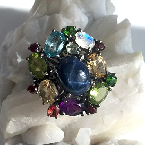 Amazon com: Sz 7 25, Genuine Blue STAR SAPPHIRE, Amethyst, Peridot