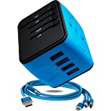 4x USB Travel Adapter–International Power Adapter-Worldwide Fast Charger-Plugs for UK, US, AU, Europe & Asia-All In One Universal Travel Plug-Extra Fuse Plus Free Gift:Multi USB Cable-Blue-by BENK