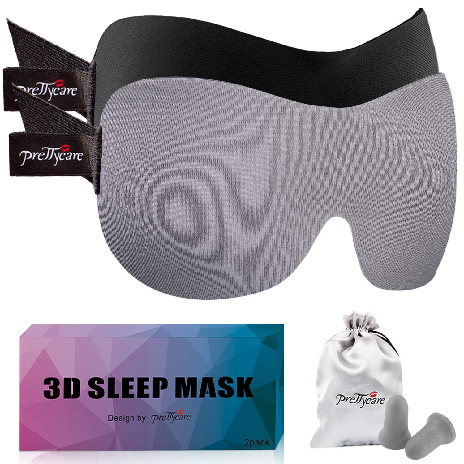PrettyCare 3D Sleep Mask (Black and Grey with 2 Pack) Eye Mask for Sleeping - Contoured Night Blindfold for Airplane with EarPlugs & Yoga Silk Eye Bags for Travel, Best for Men Women by PrettyCare