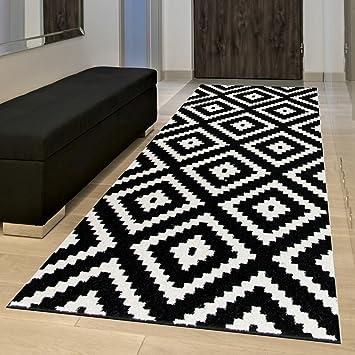 Teppich, Schwarz-Weiß im Karo-Muster 100 x 150 cm