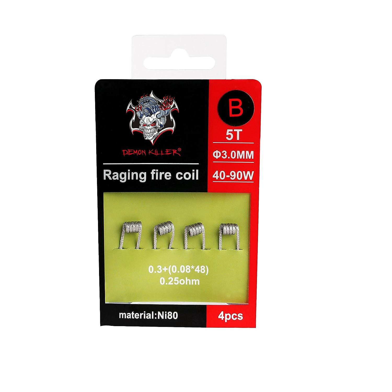 Demon Killer Coils Vape Prebuilt Bobinas Ni80 Coils Raging Fire Wires Alambre de Resistencia, 4 piezas para RDA / RBA / RTA / RDTA y uso de cableado domé stico (0,25ohm Raging Coil B) Hiyoo