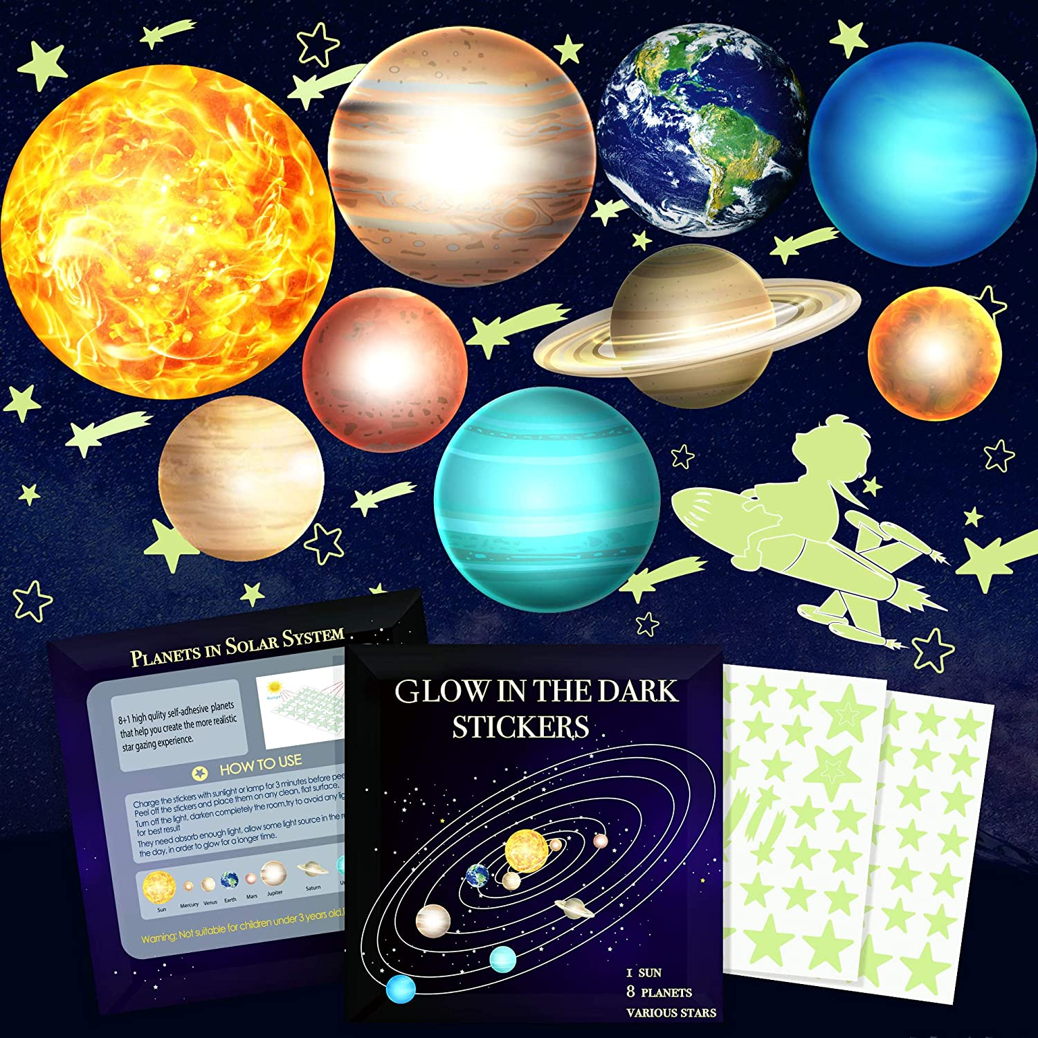Glow in The Dark Stars and Planets, Bright Solar System Wall Stickers -9 Glowing Ceiling Decals for Kids Bedroom Any Room, Shining Space Decoration, Birthday Christmas Gift for Boys and Girls