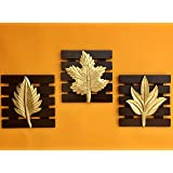 Maple Craft Brown Square Set of 3 Leaf Wall Art -Brass Wood for Home Decor/Living Room/Bed Room (8x8 Inch Each Gold Brown)