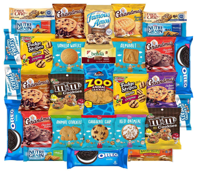Cookies Variety Pack, Crackers & Snacks Care Package Bundle Includes Grandmas Cookies, Oreos, Chips Ahoy, Rice Krispies, Keebler & More Bulk Sampler by Variety Fun (30 Count)
